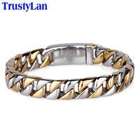 Vintage Never Fade Gold Plated Men Bracelet Jewelry Luxury 220MM Link Chain Men S Bracelets Bangles