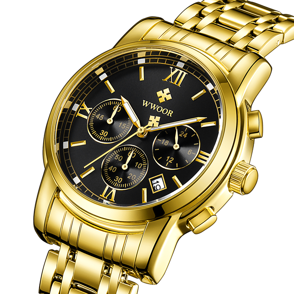 2018 WWOOR Men Quartz Watch Mens Watches Top Brand Luxury Gold Stainless Steel Sport Wrist Watch Male Chronograph Business Clock