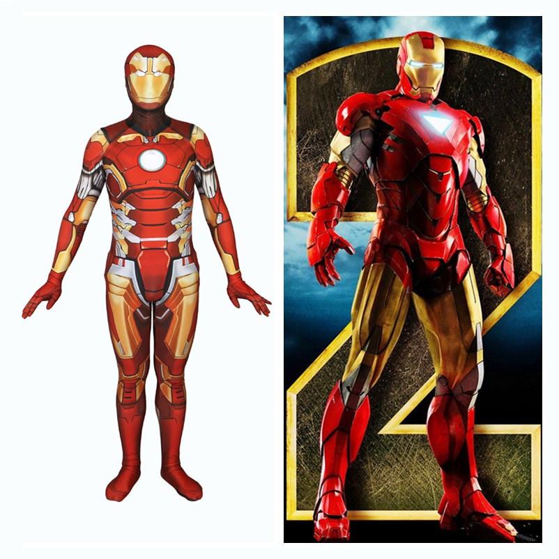 Anime Movie Iron Man Cosplay Costumes The Avengers Tony Stark Women Men Spandex Jumpsuits Zentai Bodysuits Suit N