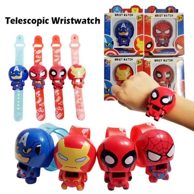 Telescopic-Wristwatch Flash-Model-Toys Figurine Caption Marvel Hulk Deadpool Thor America