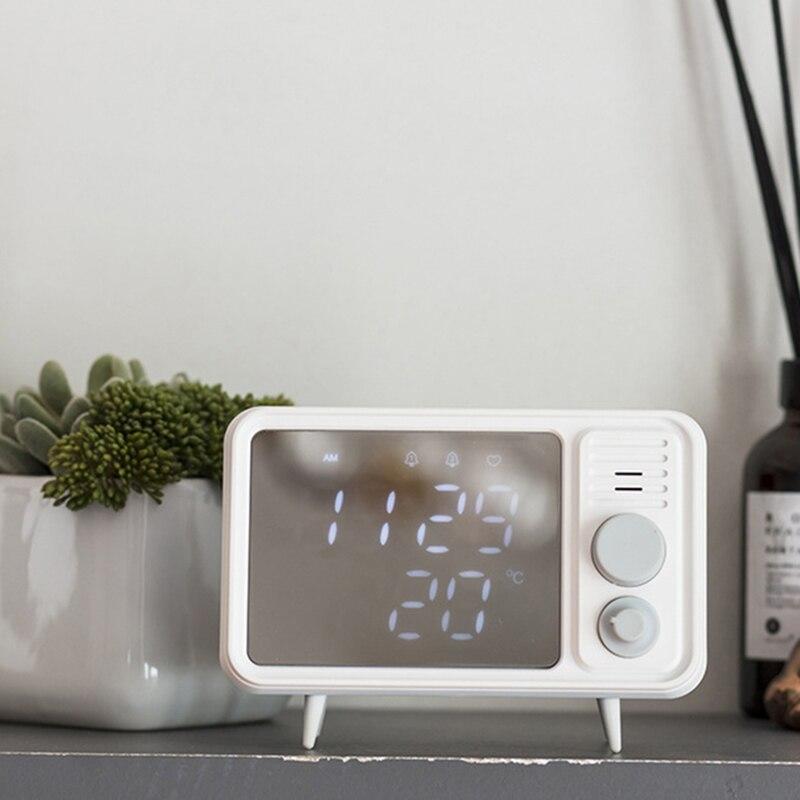 Image 4 - Hot Multi Function Retro Tv Shape Alarm Clock Lamp Mirror Multi Function Mirror Clock Thermometer Bed  Clock Grey Blue-in Alarm Clocks from Home & Garden
