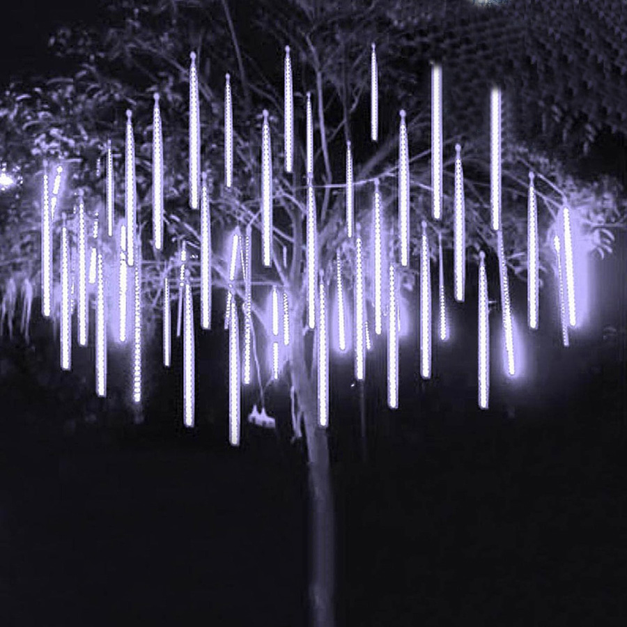 Thrisdar 30CM 8 Tubes Meteor Shower Rain String Light Outdoor Garden Party Holiday Christmas Tree Icicle Snow Falling Light