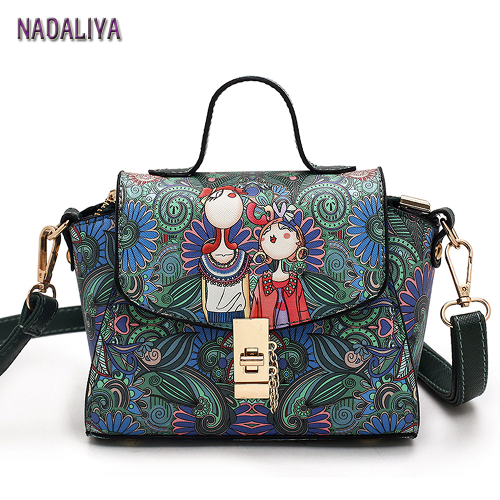 NADALIYA NEW Fashion Dark Green Forest Cartoon Image Printing Retro Shoulder Bag Women Leather Messenger Tote Bags Handbag Woman new approaches for image retrieval