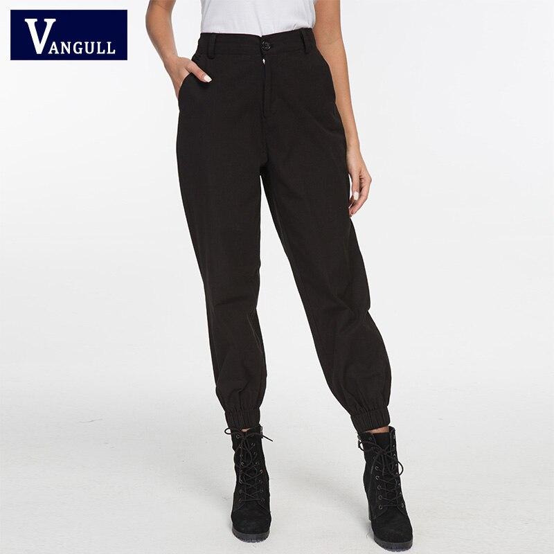 Vangull 2019 Spring Cargo Pants Women Casual Joggers Black Fashion Elastic High Waist Loose Female Trousers Ladies Pants Capri