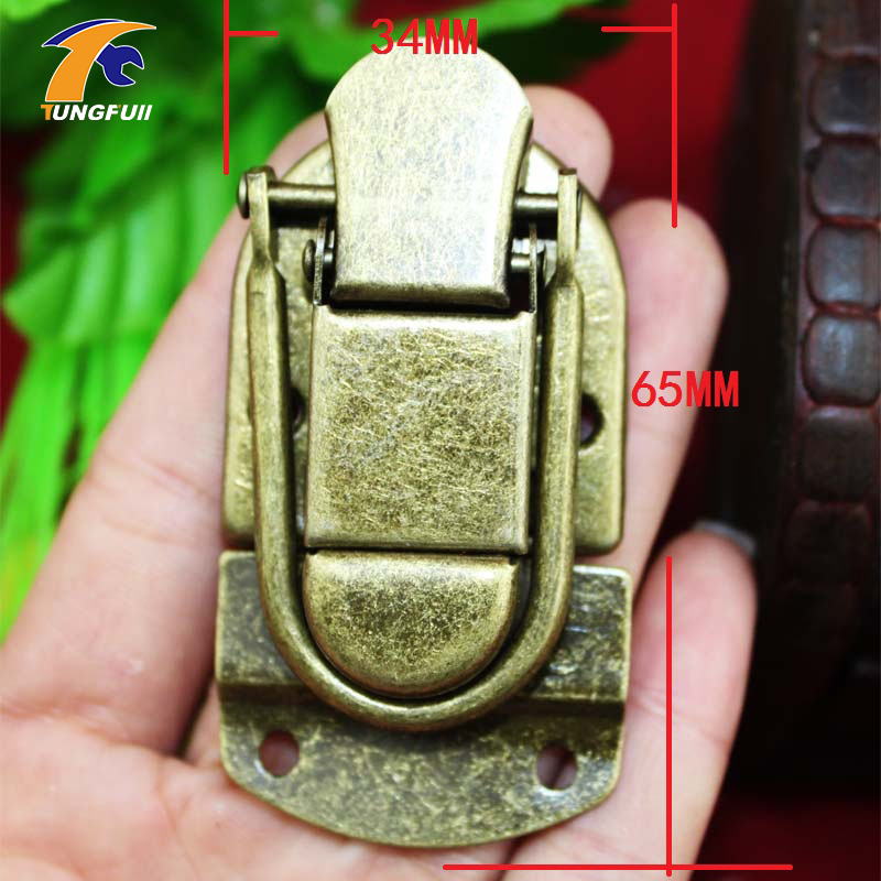 In Stock Antique Box buckle suitcase lock hasp antique wooden trunk metal buckle charm with lock buckle trumpet thickened wooden padlock hasp lock buckle buckle piece luggage accessories wooden doors
