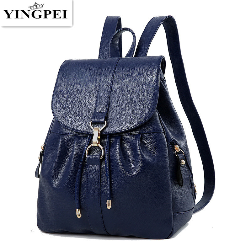 YINGPEI 2017 PU Leather backpack women bag vintage backpacks Female back pack casual shoulder Schoolbags For Teenagers Travel 2015 new casual women backpack female pu leather women s backpacks bagpack bags travel bag back pack free shipping