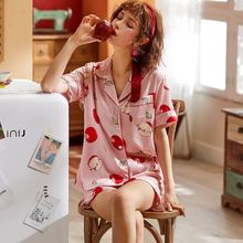 Ice silk pajamas womens summer thin section simulation short-sleeved short two-piece suit home wear nightgown sleep