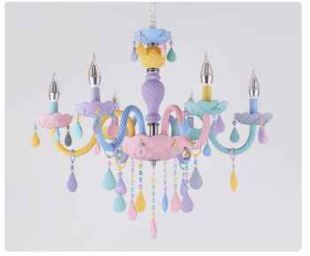 Free Shipping ColorCrystal Chandelier Macaron Pendant Lamp Children Bedroom Lamp Creative Fantasy Luminaire Stained Glass Lustre