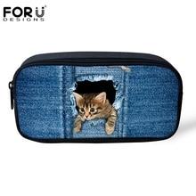 Original Girls Cosmetic Makeup Bags Cute Denim Animal Cat Jeans Pet Dog Printed Pencil Case Students Stationery School Supplies