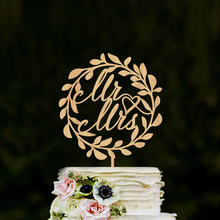 Mr&Mrs Wreath Cake Topper Wedding Rustic Cake Topper Custom Cake Topper For Wedding Anniversary Party,Personalized Wedding Decor
