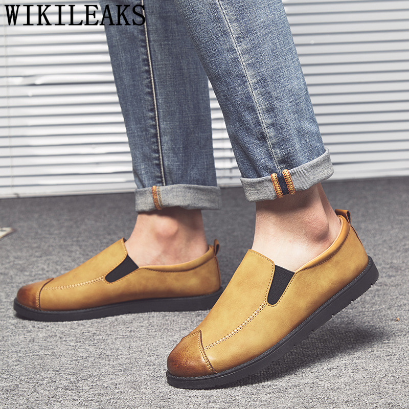 Loafers On-Shoes Mocassins Slip Casuais Fashion Mens Couro Sapatos Homme Masculinos Hot-Sale