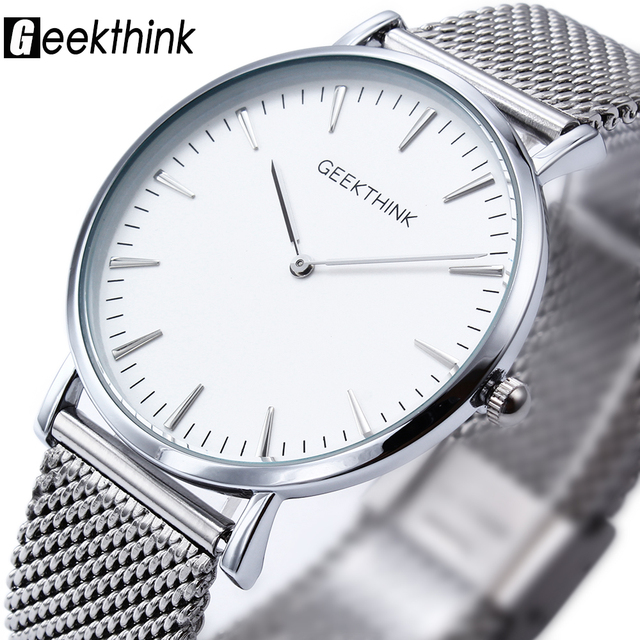 Moda Top Marca de Luxo relógio de Quartzo Casuais homens relógio de quartzo-relógio cinta de Malha De aço inoxidável ultra fino masculino relogio masculino