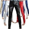 Alta qualidade primavera outono falso apertado calças de couro PU homens sólidos Slim Fit homens magros calças ( tamanho asiático )