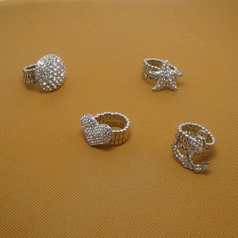 Trendy Crystals Metal Circle Sea Star Heart Anchor Elastic