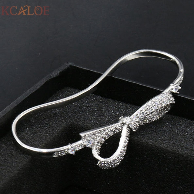 KCALOE Luxury Brand APM Silver Palm Bracelet Love BOW Arm Bracelets & Bangles Bracciali Anello  Cuff Crystal Bracelet Manchette