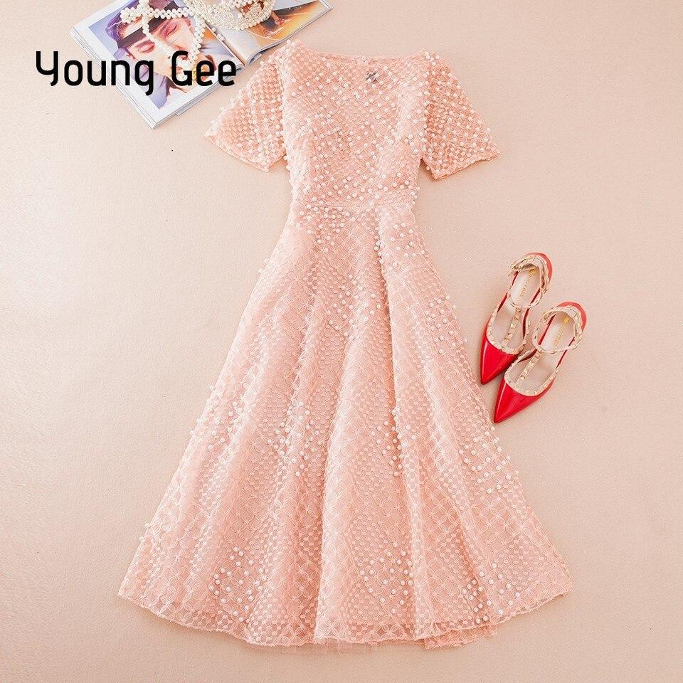 US $20.20 20% OFFJunge Gee Weiß Rosa Spitze Kleid Partei Nette Frauen  Elegante Perlen Perlen Stickerei Midi Fee Kleider Schlanke Taille Sommer