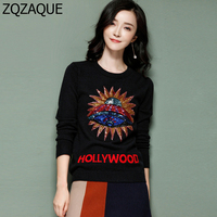 2017 New Fashion Sequins Spaceship Pattern Knitted Bottom Shirts All Match Leisure Black Tops Long Sleeve