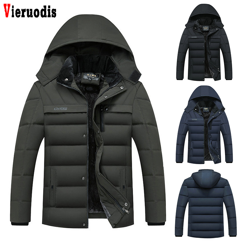 Man's 2019 Winter Fleece Jackets Hot Male Hat Detachable Outwear Men Thicken Warm Men   Parkas   Hooded Coat Zipper Overcoat Jacket