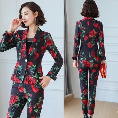 Femminile Pantaloni Aumentare Nuovo A Fiore 2 Tuta Donne Size4xl 1 Temperamento Pezzi Modo Due Di Professionale Del Usura Vestito Delle aw1xgtB0qW