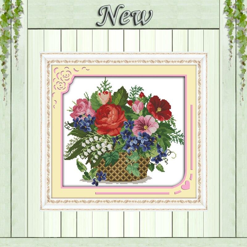 피는 꽃, 캔버스에 무늬 프린트 DMC 11CT 14CT 크로스 스티치 키트, 바느질 DIY 자수 세트, 아름다운 꽃