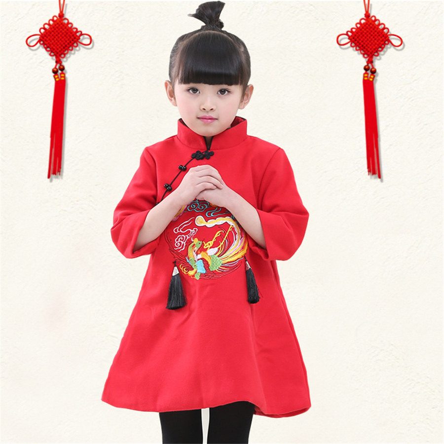 Girl Dresses Kids Clothes Chinese Traditional Dress For Girls Autumn Vestidos Princess Dress Girls Children Clothing New 70C1002 2016 new girls clothes brand baby costume cotton kids dresses for girls striped girl clothing 2 10 year children dress vestidos