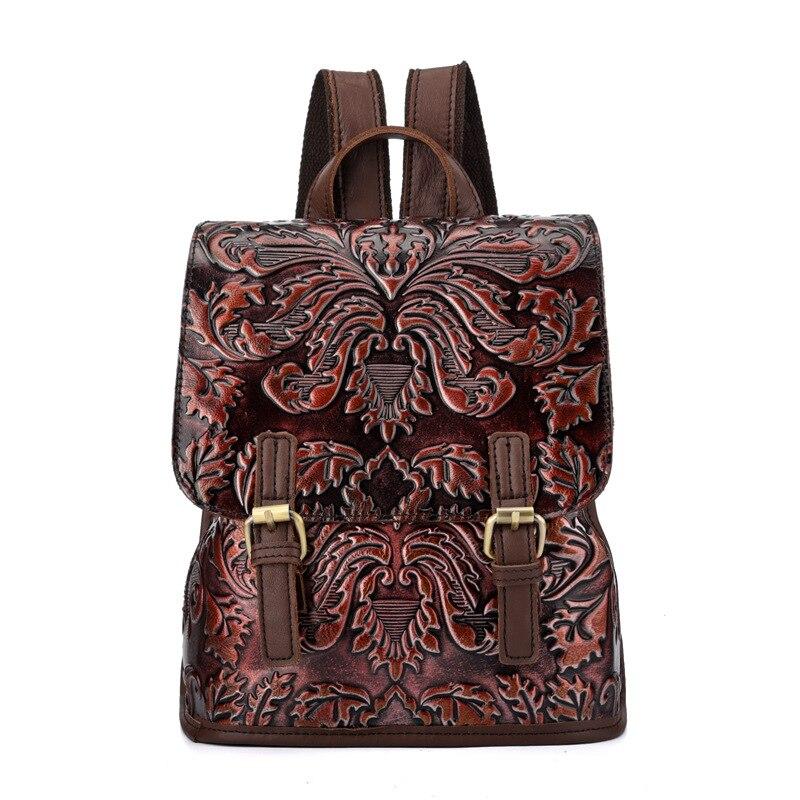 Brand Vintage Flower Engraved Genuine Leather Backpack Women's Travel Casual Double Shoulder Bag Backbag