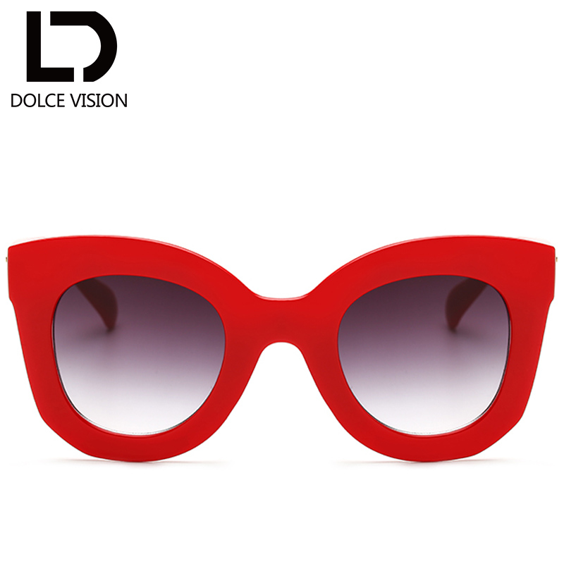 DOLCE VISION Ladies 2017 Fashion Sunglasses Women Square Cat Eye Sun Glasses For Women Oversized Black Female Oculos Lunette New