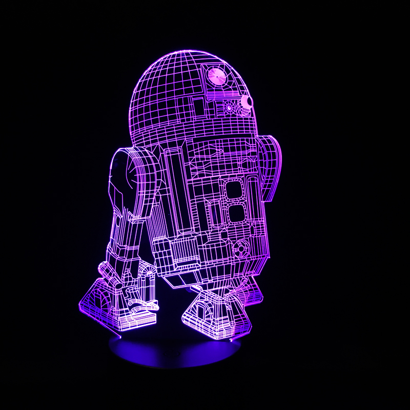 Luzes da Noite mesa Item : R2d2 Robot Figure 3d Night Lamp