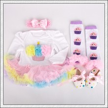 4PCs per Set Rainbow 1st Birthday Outfits Baby Girls Long Sleeves Tutu Dress Headband Shoes Leggings for 0-12month Free Shipping