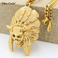 Tino Carlo Tribal Chief Necklace Satan Indian Chief Skull Hip hop Jewelry Titanium Steel  Gold Plate Men's Unique Necklace