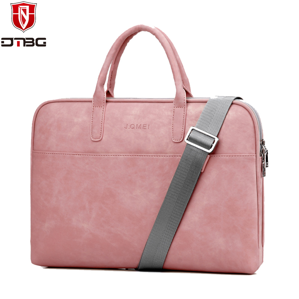 DTBG PU Leather Laptop Handbag 14 15.6 inch for Men Women Briefcase Notebook Totes for Apple Macbook Pro 13 15 Inch Computer Bag