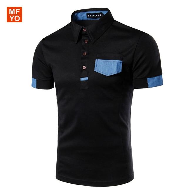 2016 New Brand Men's Polo Shirt For Men Polos Patchwork Contrast Color Men Cotton Short Sleeve Shirt Jerseys
