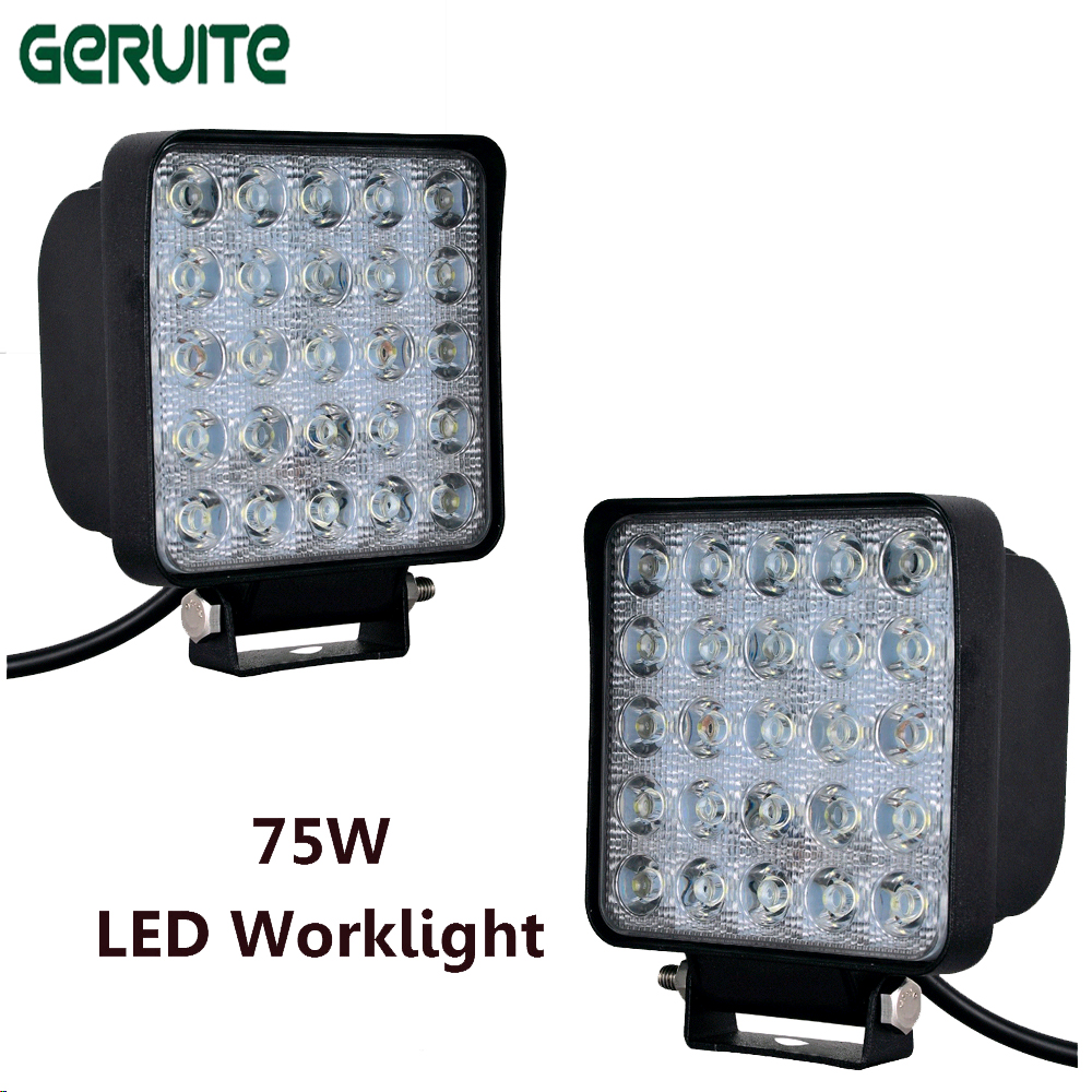 2pcs 75W LED Car Lights Square Shape LED Work Lights Offboard Boat Car Lights 12-24V for Motorcycle//SUV/ATV led lamp car