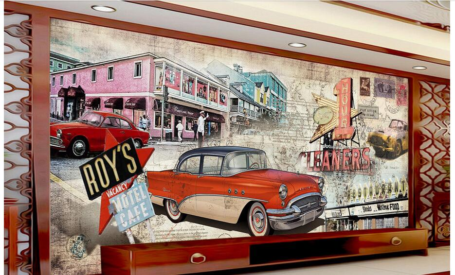 <font><b>3d</b></font> room <font><b>wallpaper</b></font> custom photo non-woven mural picture wall sticker Vintage <font><b>car</b></font> street painting <font><b>wallpaper</b></font> for walls <font><b>3d</b></font> image