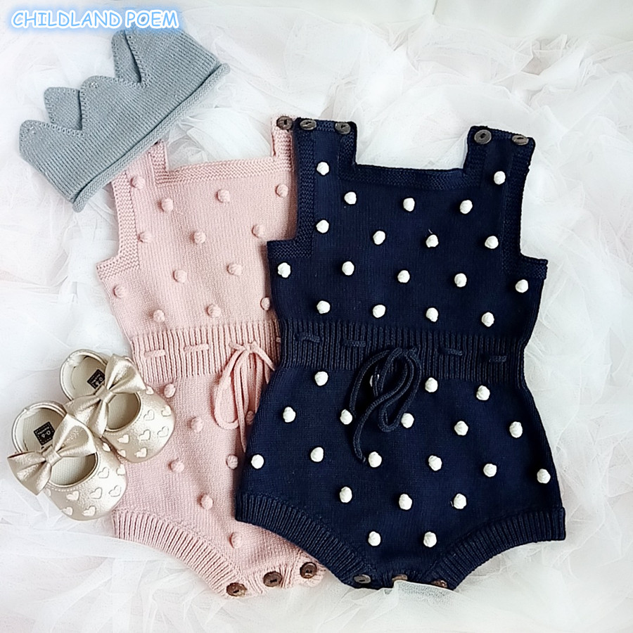 24f60ba64c33 Baby Knitted Clothes Autumn Knit Baby Rompers Girl Pompom Baby Girl ...