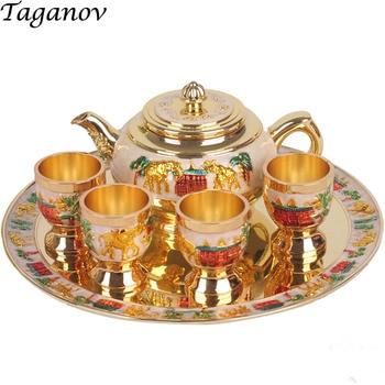 Barware Bar Sets Teacup teapot plate wine set gold gift shot glasses bartender set decantador de vino decanter alkohol destiller