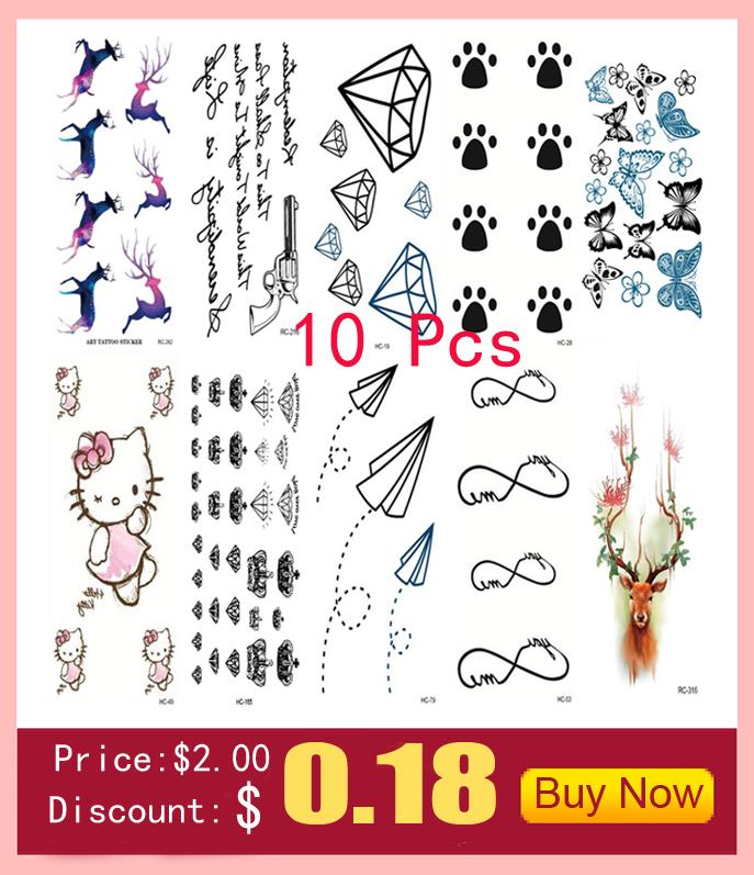 10 PCS Men Women Fake Tattoo sleeve Many cute animals Cat butterfly flower Body Art Flash Waterproof Temporary Tattoos Stickers 2