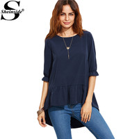 Sheinside Korean Fashion Clothing For Womens Latest Top Designs Navy Ruffle Sleeve High Low Tiered Peasant