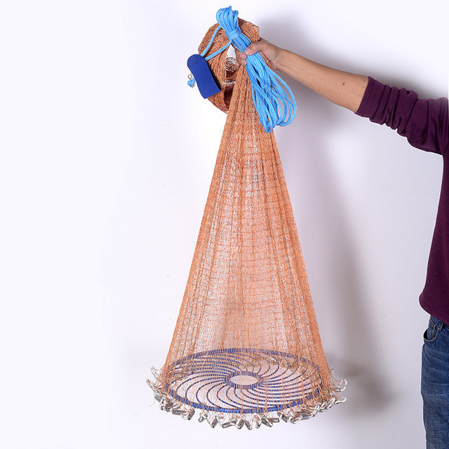 XCLOHAS Upgraded Flying Disc American Hand Cast Fishing Net with Lead Sinkers 300 360 420 480 540 600 720cm Throw Net