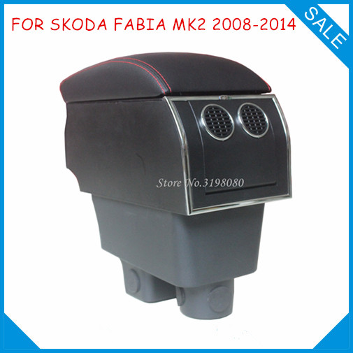 FOR SKODA FABIA MK2 2008-2014 8pcs USB Armrest,All-IN-ONE Car center arm rest console box with hidden cup holder Car Accessories