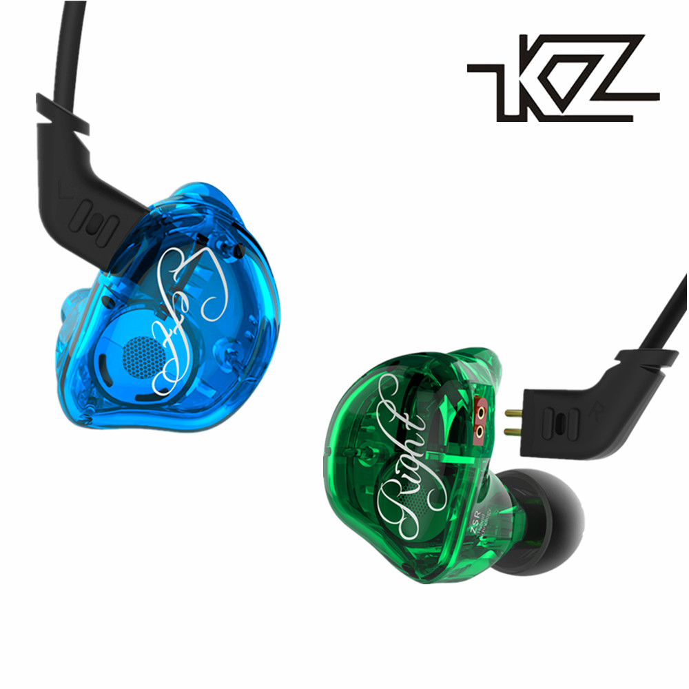 KZ ZSR Dynamic + 2BA Hybrid Drive In Ear Earphone HIFI Headset With 2PIN Replacement Cable Noise Cancelling Sport Earphones kz es3 1dd 1ba hybrid dynamic and balanced armature earphone in ear hifi stereo sport headset suitable bluetooth 100% original