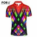 FORUDESIGNS Stylish Red Mix-color Print Polo Shirt Man Clothing Men Shirts Breathable Short Sleeve Turn-down Collar Polos Shirt