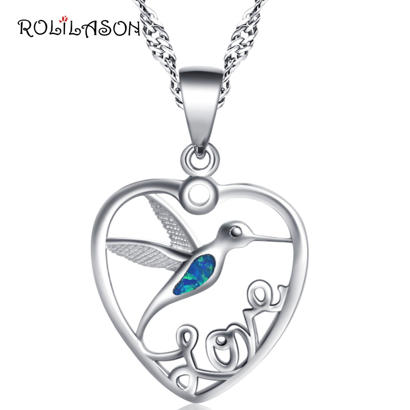 ROLILASON Animal heart design 925 Sterling Silver Necklace Pendants Blue fire Opal Jewelry For Women SP19 ROLILASON Animal heart design 925 Sterling Silver Necklace Pendants Blue fire Opal Jewelry For Women SP19