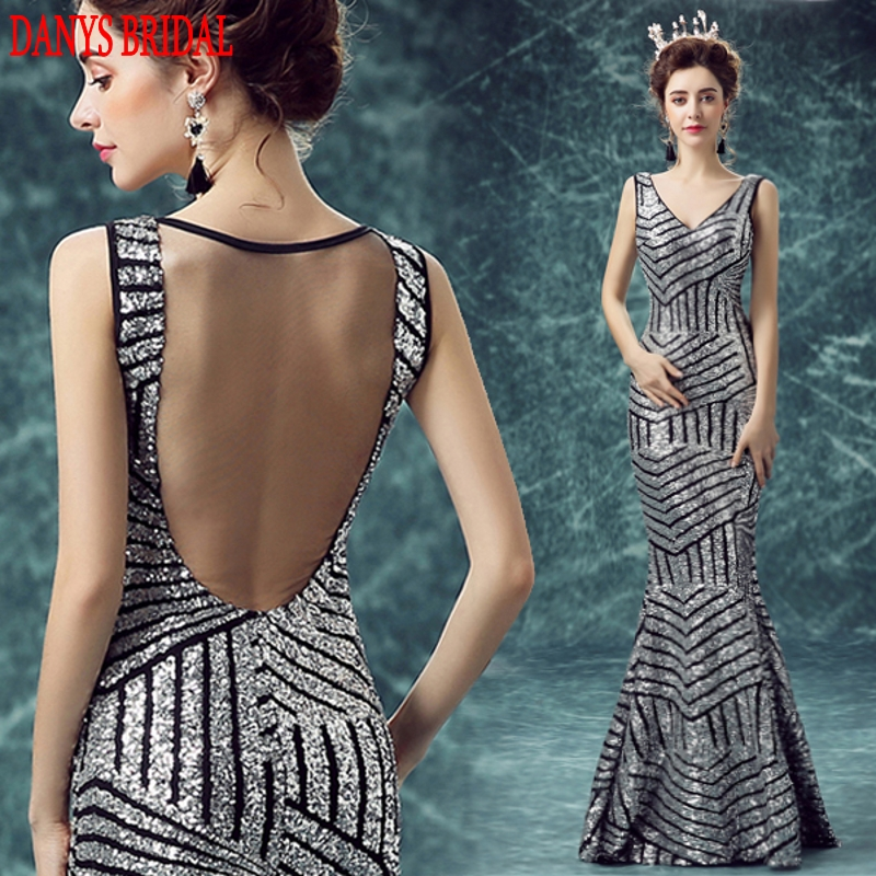 Silver Long Mermaid Evening Dresses Party Sequin Luxury Beautiful ...