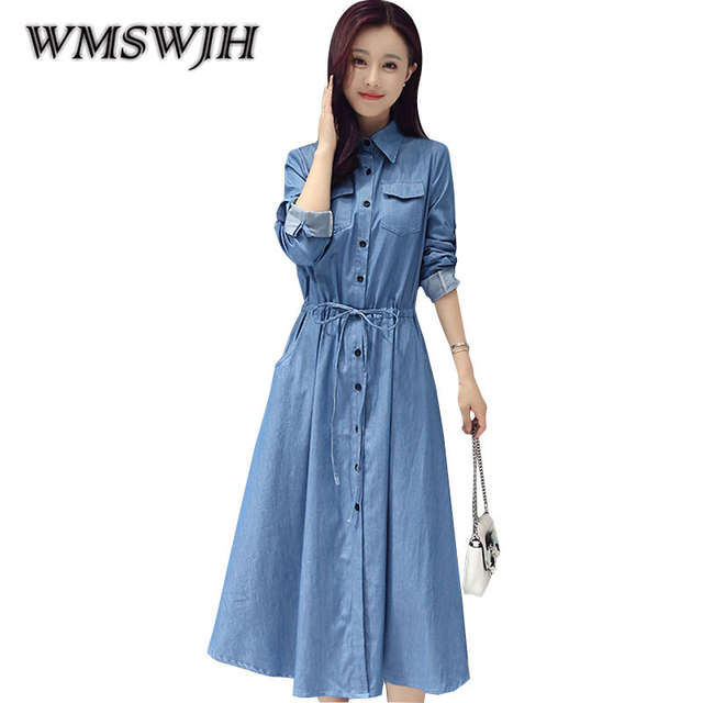 6369f67320 2018 Primavera/Estate Abito Lungo Blu Del Denim Del Manicotto Del Vestito  di Stile Coreano Grande Formato Lungo di A-Line Del Vestito Vestiti delle  ...
