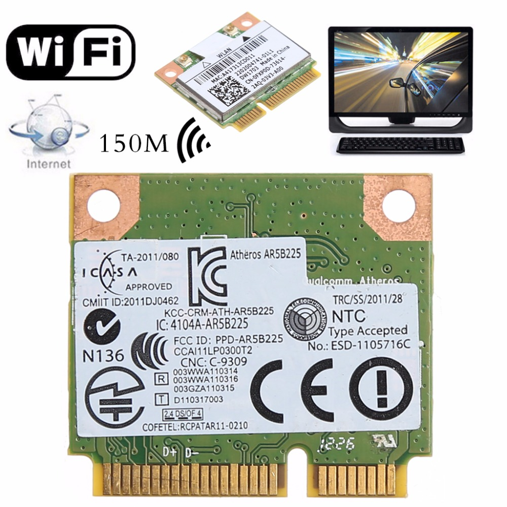 Bluetooth V4.0 Wifi Wireless Mini PCI-Express Card For Atheros AR5B225 DELL DW1703 CN-0FXP0D