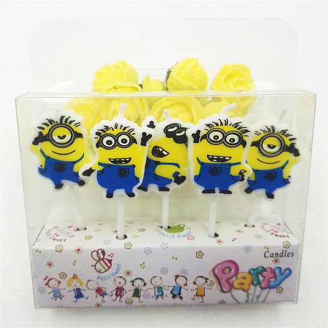5pcs Set Minions Party Supplies Kids Birthday Candles