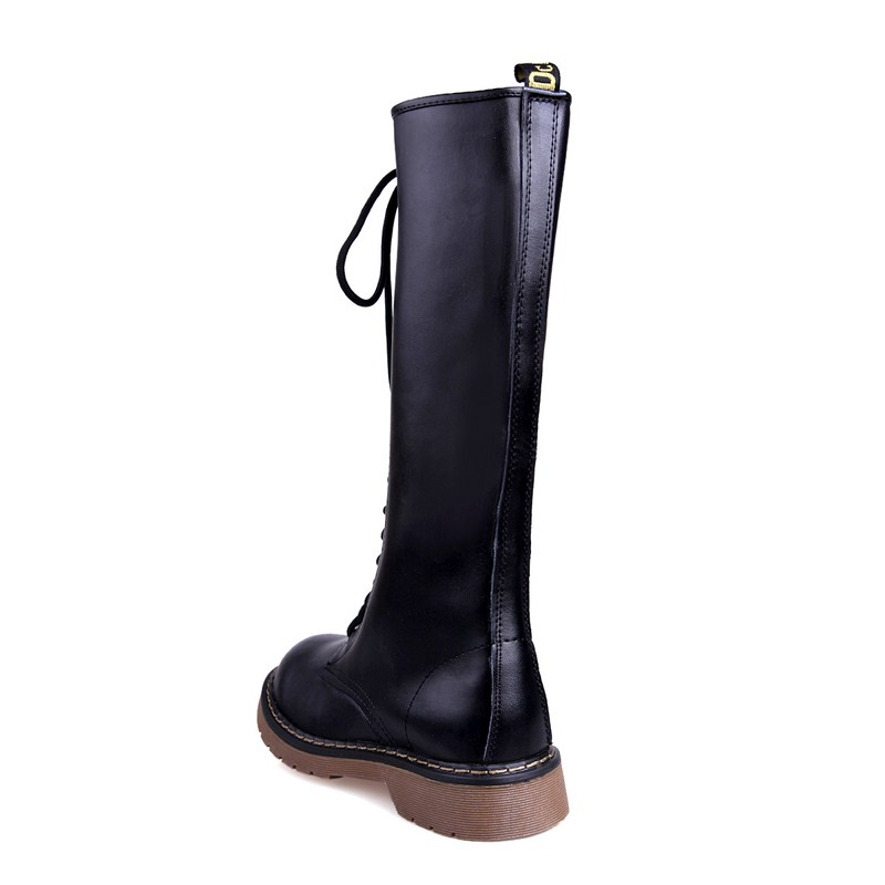 8198805036771 Genuine Leather Women Winter Long Boots Knee Lace Up Low Heel Flats Boots  2017 New Fashion Flat Big Size Boots Plus Size 34 39-in Knee-High Boots  from Shoes ...