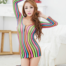 2016 Summer Style Sexy Lingerie Hot Erotic Hollow Women Colored Stripe Dress Transparent Colorful Clothes Sex Products Underwear
