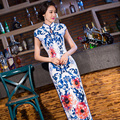 Free shipping blue and white floral print Qipao traditional chinese cheongsam dress qipao national chinese dresses 270